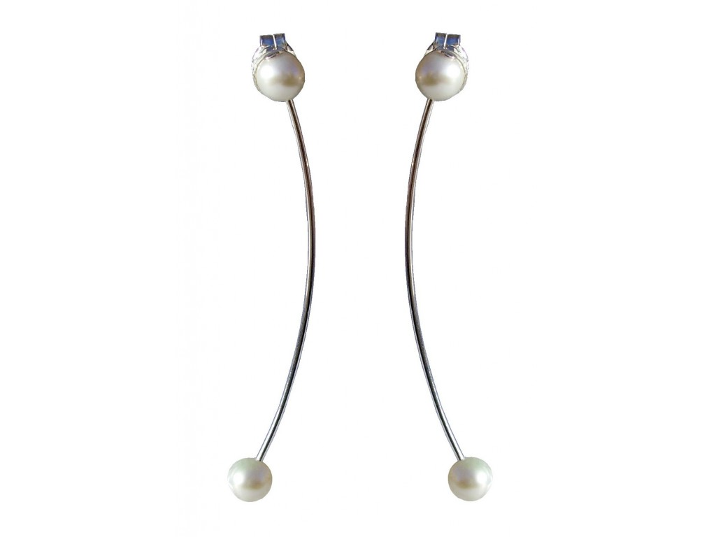 ONDA-PEARL, STERLING SILVER EARRING. Original Handcrafted Jewel - VOPONDAPER03 - Original Version