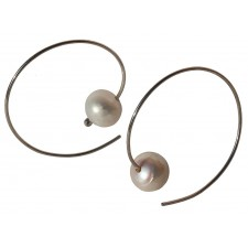 CCHOC-PERLA, HOOP EARRING IN STERLING SILVER. Original Handcrafted Jewel - VOPCHOC01PER - Version Original