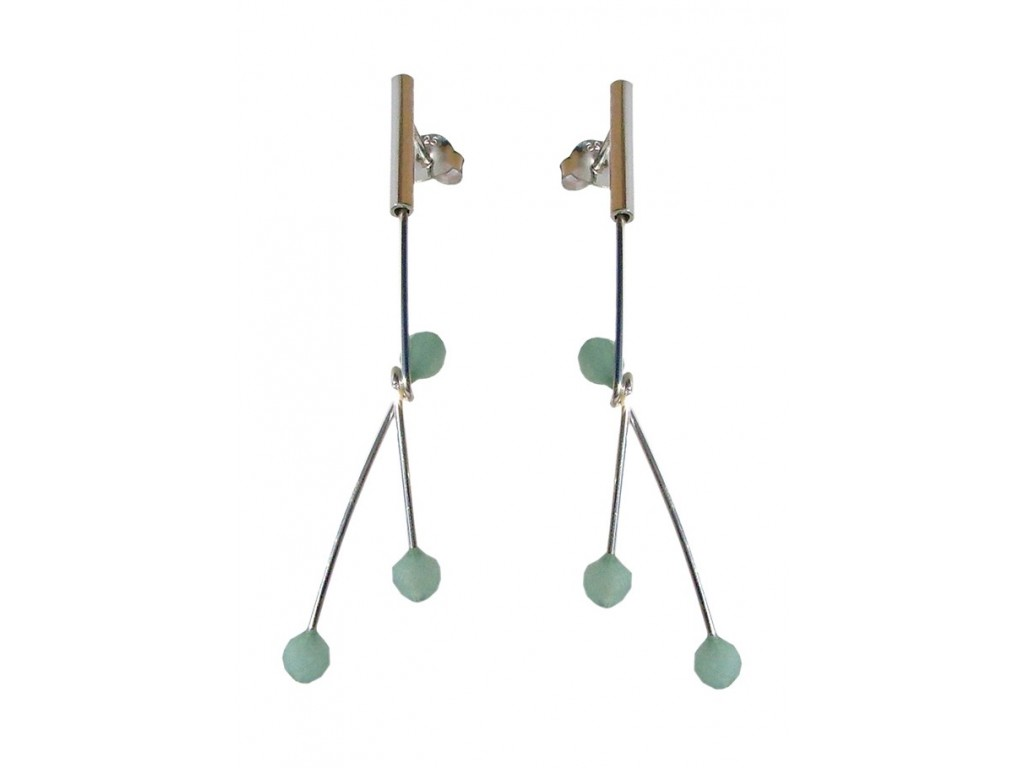 ASPA & AMAZONITE, STERLING SILVER EARRING. Original Handcrafted Jewel - VOPASPAAMZ01 - Original Version