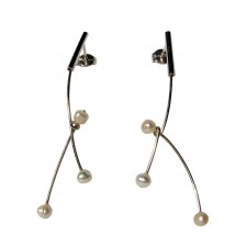 ASPA-PEARL, STERLING SILVER EARRING. Original Handcrafted Jewel - VOPASPAPER01 - Original Version