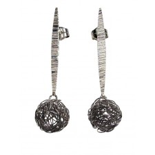 BALL, STERLING SILVER EARRING. Original Handcrafted Jewel - VOPBALL1102 - Original Version