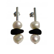 LAVA-PEARL, STERLING SILVER EARRING. Original Handcrafted Jewel - VOPLAVA02 - Original Version