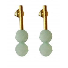 PIEDRA-AMAZONITE, STERLING SILVER GOLD PLATED EARRING. Original Handcrafted Jewel - VOPPDAMZ01GP - Original Version