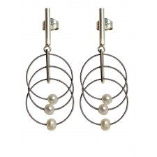 TELAR1-PEARL, STERLING SILVER EARRING. Original Handcrafted Jewel - VOPTELAR1PER01 - Original Version