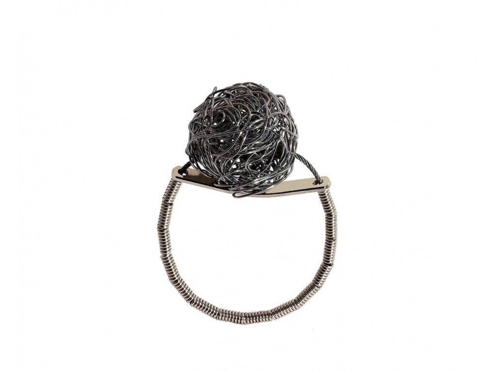 ONDA-BALL, STERLING SILVER RING. Original Handcrafted Jewel - VOAONDABALL01 - Original Version