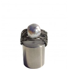 TELAR2-PERLA, STAINLESS STEEL RING. Original Handcrafted Jewel - VOATELAR2PER03 - Original Version