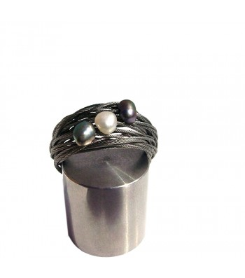 TELAR2-PERLA, STAINLESS STEEL RING. Original Handcrafted Jewel - VOATELAR2PER06 - Original Version