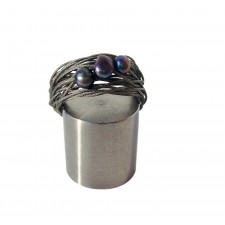 TELAR2-PERLA, STAINLESS STEEL RING. Original Handcrafted Jewel - VOATELAR2PER10 - Original Version