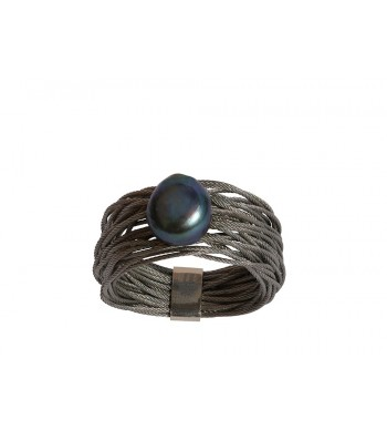 TELAR2-PERLA, STAINLESS STEEL RING. Original Handcrafted Jewel - VOATELAR2PER09 - Original Version