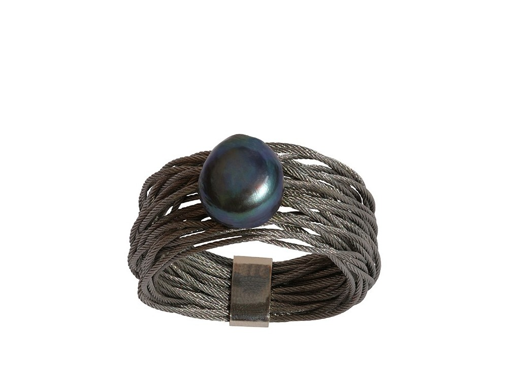 TELAR2-PERLA, STAINLESS STEEL RING. Original Handcrafted Jewel - VOATELAR2PER09 - Original Version
