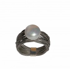 TELAR2-PERLA, STAINLESS STEEL RING. Original Handcrafted Jewel - VOATELAR2PER02 - Original Version