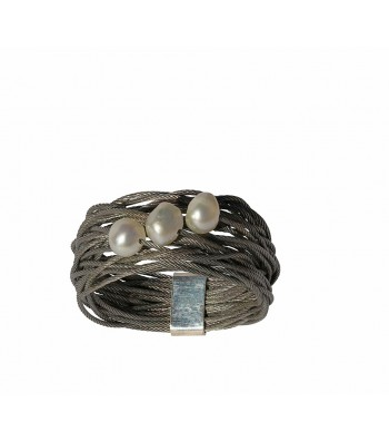 TELAR2-PEARL, STAINLESS STEEL RING. Original Handcrafted Jewel - VOATELAR2PER07 - Original Version