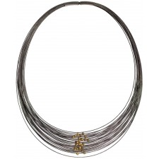 TELAR2-BOLA, STAINLESS STEEL 38-STRAND NECKLACE . Original Handcrafted Jewel - VOCTELAR2BL01GP- Version Original