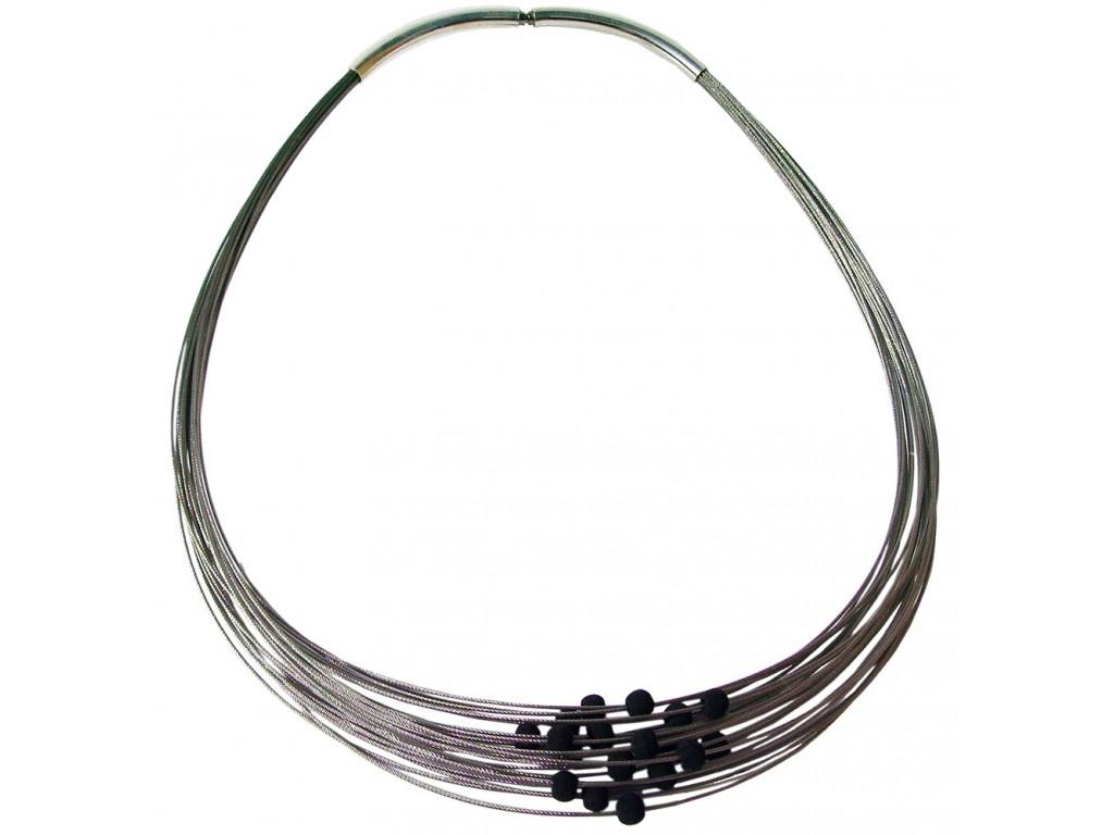 TELAR2-LAVA, STAINLESS STEEL 25-STRAND NECKLACE. Original Handcrafted Jewel - VOCTELAR2LA02 - Original Version