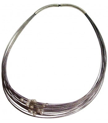 TELAR2-PERLA, STAINLESS STEEL 25-STRAND NECKLACE. Original Handcrafted Jewel - VOCTELAR2PER02 - Original Version