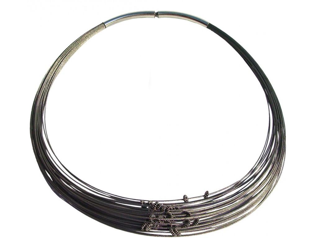 TELAR2-SPRING, STAINLESS STEEL 38-STRAND NECKLACE. Original Handcrafted Jewel - VOCTELAR2RS01 - Original Version