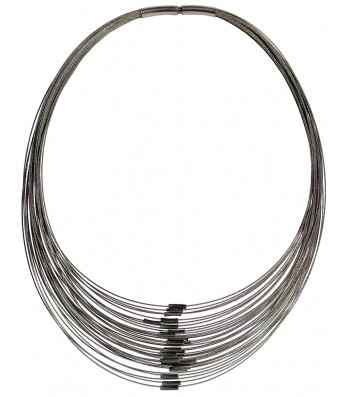 TELAR2-TUBO, STAINLESS STEEL 38-STRAND NECKLACE. Original Handcrafted Jewel - VOCTELAR2TB01 - Original Version