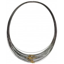 TELAR2-TUBE, STAINLESS STEEL 38-STRAND NECKLACE. Original Handcrafted Jewel - VOCTELAR2TB01GP - Original Version