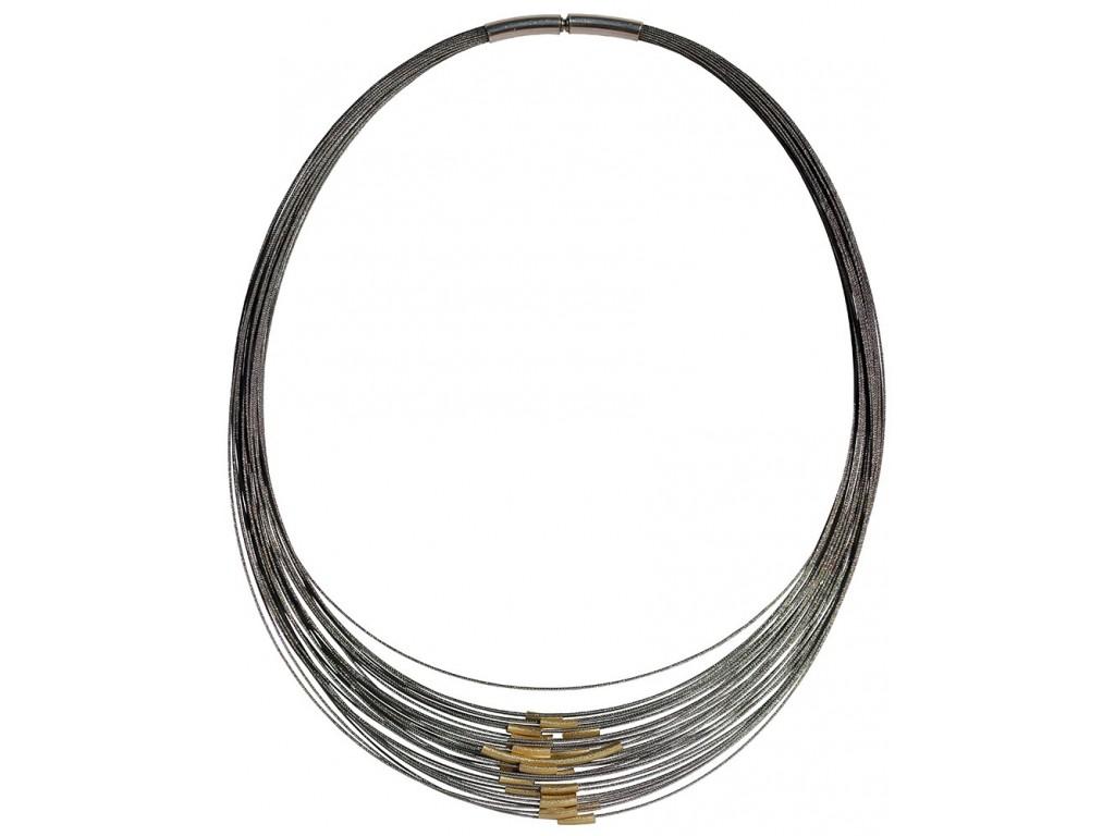TELAR2-TUBE, STAINLESS STEEL 38-STRAND NECKLACE. Original Handcrafted Jewel - VOCTELAR2TB01GP - Original Version
