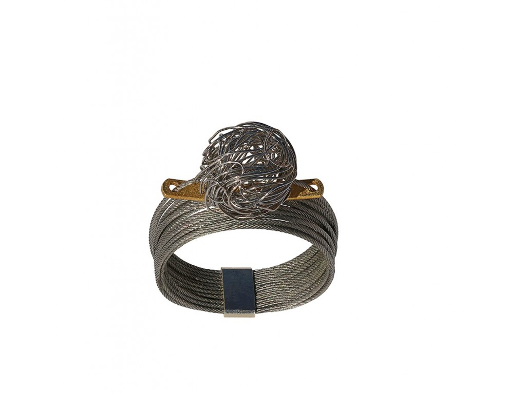 ONDA-BALL, STAINLESS STEEL RING. Original Handcrafted Jewel - VOAONDABALL02 - Original Version