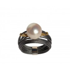 ONDA-PERLA, STAINLESS STEEL RING. Original Handcrafted Jewel - VOAONDAPER02D - Original Version