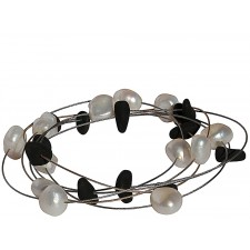 TELAR1-LAVA PEARL, STAINLESS STEEL BRACELET. Original Handcrafted Jewel - VOBTELAR1LAPER03 - Original Version
