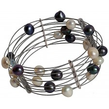 TELAR1- PEARL, STAINLESS STEEL BRACELET. Original Handcrafted Jewel - VOBTELAR1PER03 - Original Version
