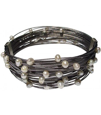 TELAR2-PEARL, STAINLESS STEEL BRACELET. Original Handcrafted Jewel - VOBTELAR2PER01 - Original Version