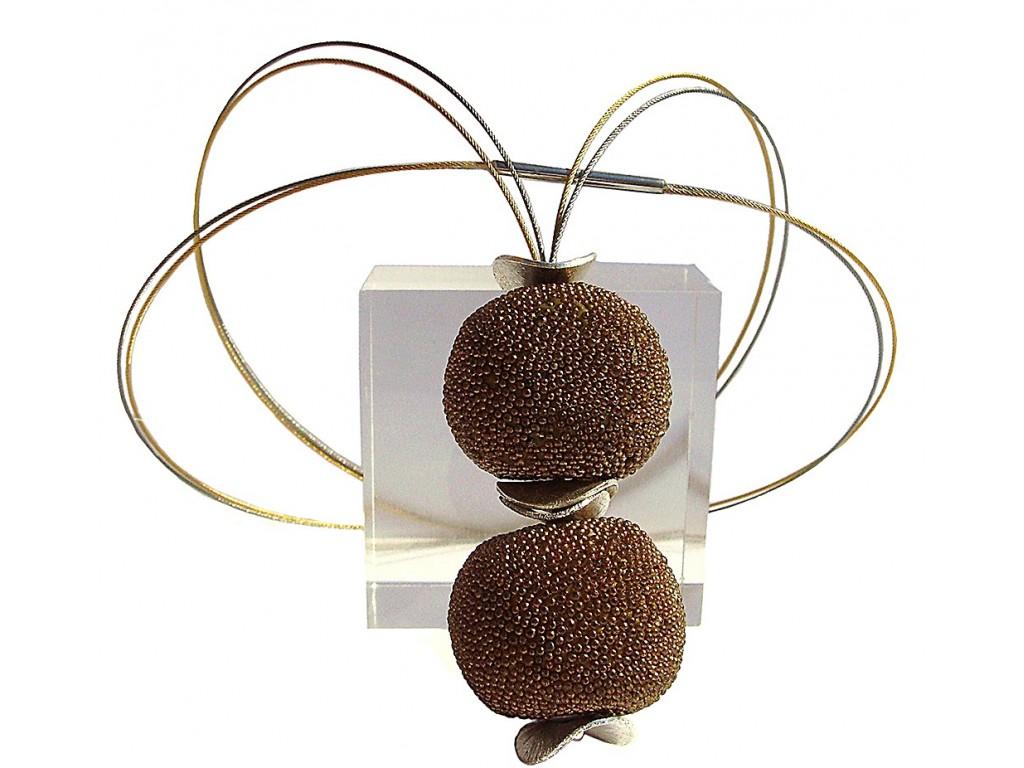BOLA DE GRANITO, GRANITE BALL PENDANT-NECKLACE. Original Handcrafted Jewel - VOCBLGR01D - Original Version