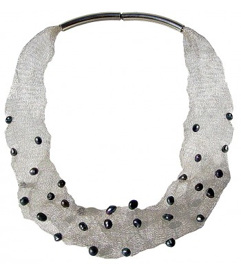 MESH-PEARL, TUBULAR NECKLACE. Original Handcrafted Jewel - VOCMESHSPER01 - Original Version