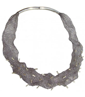 MESH-TUBE, TUBULAR NECKLACE. Original Handcrafted Jewel - VOCMESHTITB01A - Original Version
