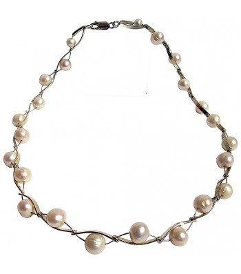 ONDA-PEARL, STERLING SILVER NECKLACE. Original Handcrafted Jewel - VOCONDAPER02 - Original Version