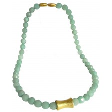 PIEDRA-AMAZONITE, STERLING SILVER NECKLACE. Original Handcrafted Jewel - VOCPDAMZ01GP - Original Version