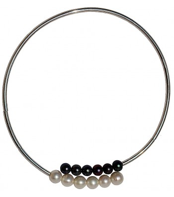 CHOC-PERLA, STERLING SILVER CHOKER NECKLACE WITH PEARL. Original Handcrafted Jewel - VOCCHOC02 - Original Version