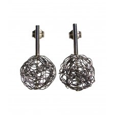 BALL, STERLING SILVER EARRING. Original Handcrafted Jewel - VOPBALL1101A - Original Version