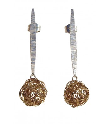 BALL, STERLING SILVER EARRING. Original Handcrafted Jewel - VOPBALL1102GP - Original Version