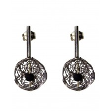 BALL-LAVA, STERLING SILVER EARRING. Original Handcrafted Jewel - VOPBALL1104LA - Original Version