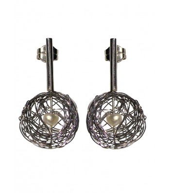 BALL-PEARL, STERLING SILVER EARRING. Original Handcrafted Jewel - VOPBALL1104PER - Original Version