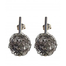 BALL, STERLING SILVER EARRING. Original Handcrafted Jewel - VOPBALL1501 - Original Version