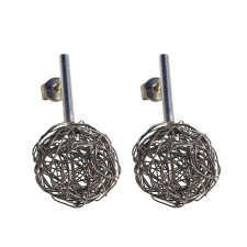 BALL, STERLING SILVER EARRING. Original Handcrafted Jewel - VOPBALL1501A - Original Version