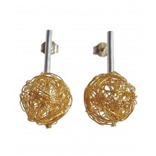 BALL, STERLING SILVER EARRING. Original Handcrafted Jewel - VOPBALL1501GP - Original Version