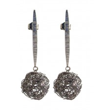 BALL, STERLING SILVER EARRING. Original Handcrafted Jewel - VOPBALL1502 - Original Version