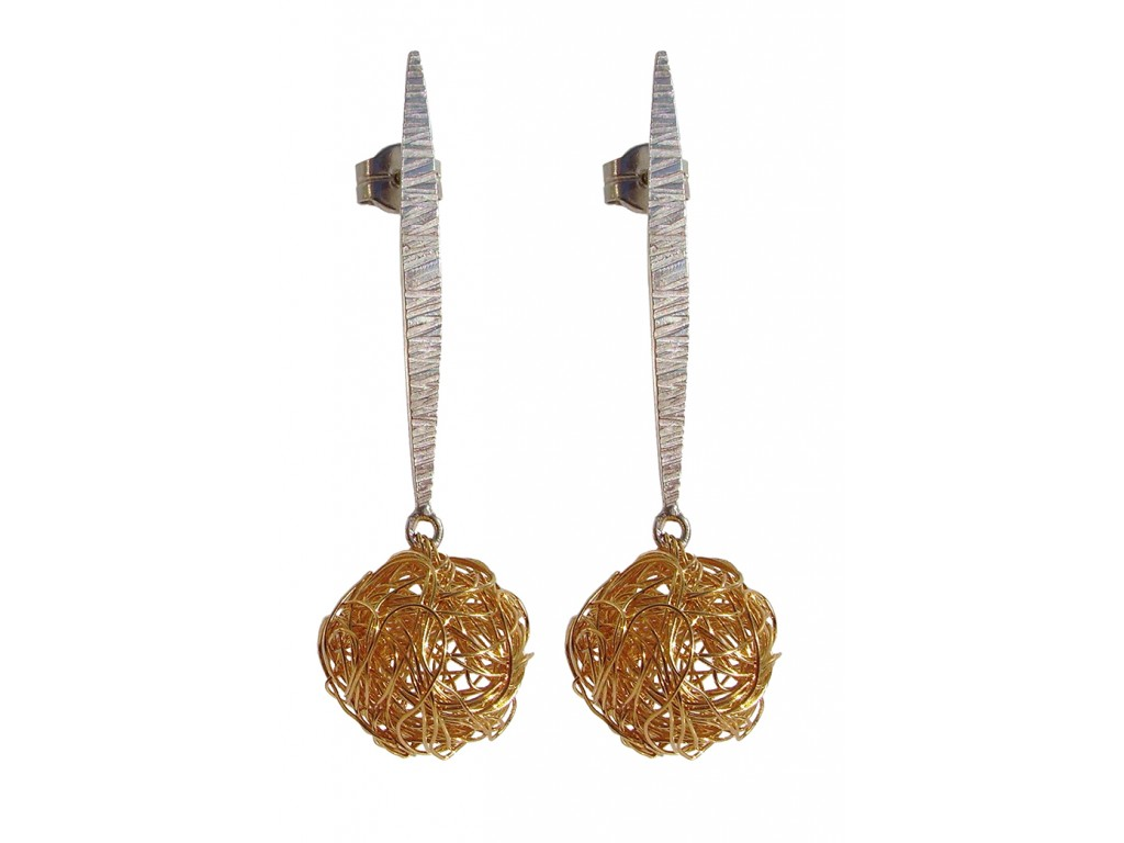 BALL, STERLING SILVER EARRING. Original Handcrafted Jewel - VOPBALL1502GP - Original Version
