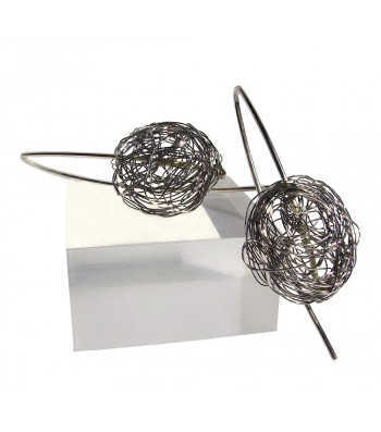 BALL, STERLING SILVER EARRING. Original Handcrafted Jewel - VOPBALL1503A - Version Original