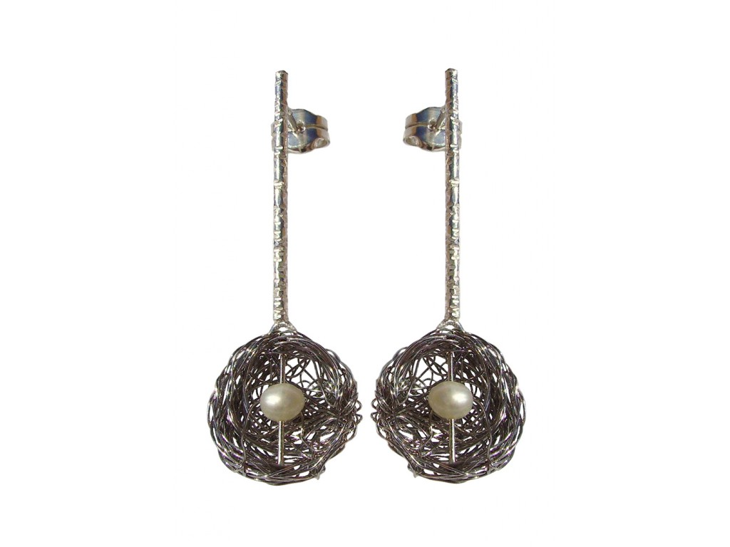 BALL-PEARL, STERLING SILVER EARRING. Original Handcrafted Jewel - VOPBALL1504PER - Original Version