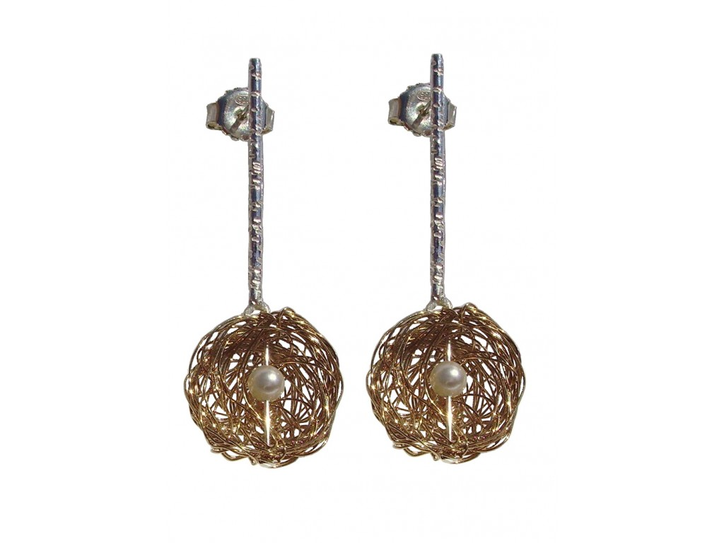 BALL-PEARL, STERLING SILVER EARRING. Original Handcrafted Jewel - VOPBALL1504PERGP - Original Version