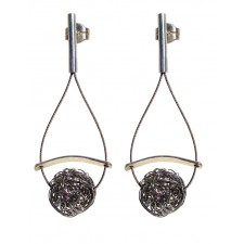 ONDA-BALL, STERLING SILVER POST EARRING. Original Handcrafted Jewel - VOPONDABALL01 - Original Version