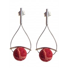 ONDA-CORAL, STERLING SILVER EARRING. Original Handcrafted Jewel - VOPONDACRL01 - Original Version