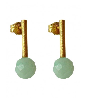 PIEDRA-AMAZONITE, STERLING SILVER GOLD PLATED EARRING. Original Handcrafted Jewel - VOPPDAMZ02GP - Original Version