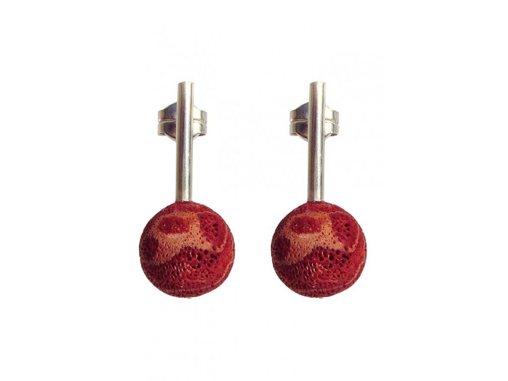 PIEDRA-SPONGE CORAL, STERLING SILVER EARRING. Original Handcrafted Jewel - VOPPDCRL01 - Original Version